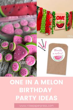 The best ideas for hosting a modern and fun One in a Melon 1st birthday featuring watermelon themed invitations, cake, cookies, outfits, party favors, decor, high chair banners, cake toppers, thank you cards and stickers, and more. Kids Birthday Themes, Birthday Invitations Kids, 1st Birthday Parties, Boy Birthday, One In A Melon, Party Guests, Cake Cookies, Holiday Cards, Banners