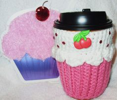 Cupcake CUP COZY sleeve for HOT or COLD drinks Medium or Large Cup