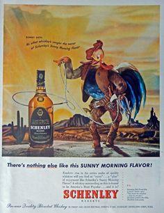 Schenley Whiskey  40 s Vintage Print Ad  Color Illustration  Original Rare 1947 Life Magazine Art
