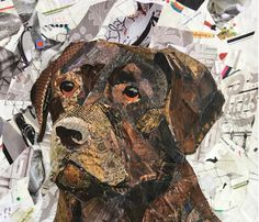 """Explore our website for additional details on """"labrador retrievers"""". It is an exceptional spot for more information. Newspaper Collage, Collage Art, Chocolate Labrador Retriever, Retriever Puppies, Labrador Retrievers, Paper Mosaic, Mosaic Animals, Dog Quilts, Dog Artwork"""