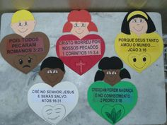Plano da Salvação                                                                                                                        ... Bible School Crafts, Sunday School Crafts, Vbs Crafts, Crafts For Kids, Christian Bulletin Boards, Wordless Book, Kids Class, Bible Activities, Vacation Bible School