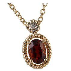 Garnet Pendant with 0.01 carat Diamond https://www.goldinart.com/shop/colored-gemstones-necklaces/garnet-pendant-0-01-carat-diamond #14KaratYellowGold, #Garnet