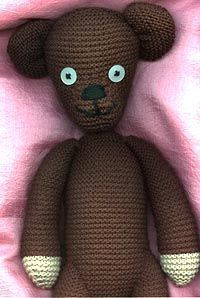 mr bean's teddy pattern...one of the first things i knit for kids gifts around 1999/2000...:)
