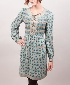 Take a look at this Riverside: Grey & Blue Floral Anita Lace-Up Scoop Neck Dress by Riverside on #zulily today!