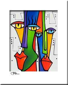 Lovin The City Original Abstract Painting Modern Pop Art Print Contemporary Colorful Portrait Face Decor By Fidostudio Excellent Quot Modern Abstract Art Face Quot Info Is Available On Our Site Take A Look And You Will Not Be Sorry You Did Portraits Cubistes, Tableau Pop Art, Modern Art Movements, Modern Pop Art, Chicago Artists, Arte Pop, Art Moderne, Watercolor Artists, Large Painting