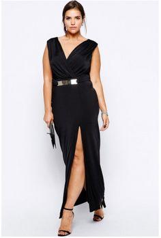 Her Look Plus Black Maxi Dress with Metal Bar