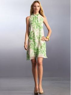 Petite silk floral-print halter dress