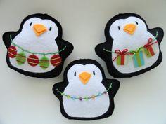 Tree Trimming Penguin-Felt Ornaments-Christmas Penguins-Penguin Christmas Ornaments-Penguin Ornaments-Holiday Ornaments-Tree Trimming Set