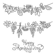Illustration about Doodle Thanksgiving Decorative Garland Freehand Vector Drawing Isolated. Illustration of hand, autumn, foliage - 61721265 Doodle Drawings, Easy Drawings, Doodle Art, Note Doodles, Simple Doodles, Thanksgiving Drawings, Autumn Doodles, Planner Doodles, Drawing Lessons For Kids