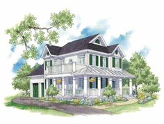 Eplans Country House Plan - Wraparound Verandah - 2178 Square Feet and 3 Bedrooms from Eplans - House Plan Code HWEPL68256
