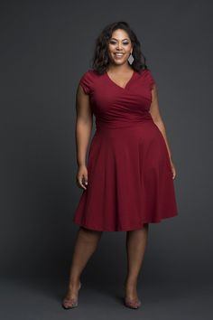 This makes for an essential V neck Maroon/Red Dress which befits multiple occassions Fabric is viscose lycra Elasticated Waist Slip on Dress Machine Wash Cold, tumble dry and light iron if neededCurrently we are out of stock for color Plus Size Wedding Dresses With Sleeves, Plus Size Cocktail Dresses, Dress Plus Size, Best Plus Size Dresses, Curvy Girl Fashion, Plus Size Fashion, Curvy Outfits, Plus Size Outfits, Plus Size Womens Clothing