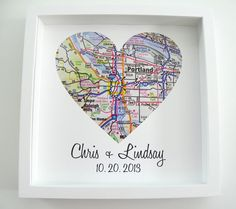 Map of heart for birthplaces of couple getting married. Maybe also the city they met in... Perhaps with a treasure mappy feel like X+y leads to ❤️.