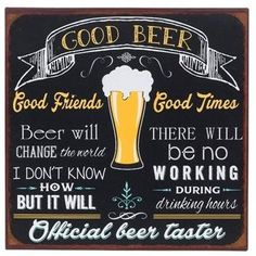 Black & Yellow Beer Plaque: Good Beer