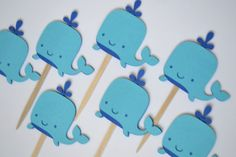 Whale Cupcake Toppers by Simplybannerlicious on Etsy
