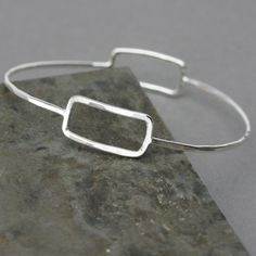 Sterling Silver Bangle Bracelet Rectangle Bangle by LizardiJewelry