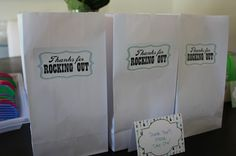 Love this sticker for the favor bags. Rock n Roll Themed First Birthday Party