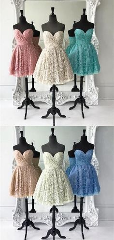 short lace homecoming dress prom dress, cute sweetheart short  pink lace homecoming dress, party dress dancing dress sweet 16 dress
