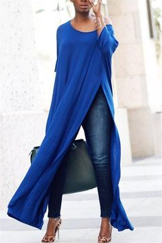 2019 ZANZEA Women Sexy Off Shoulder Sleeve High Split Long Blouse Solid Loose OL Work Party Pullover Top Blusas Plus Size. Casual Tops For Women, Blouses For Women, Ladies Tops, Ladies Blouses, Casual T Shirts, Casual Outfits, Dress Casual, Casual Jumpsuit, Denim Jumpsuit