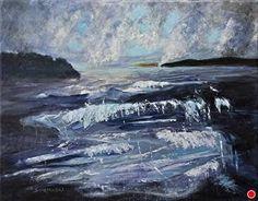 Kesä Myrsky - Summer Storm by Louise Charles-Saarikoski Acrylic ~ 40 cm x 50 cm #landscapepainting #maisemaa #maalaus