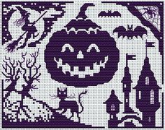 halloween party cross-stitch pattern