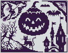 halloween party cross-stitch pattern
