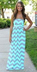 Light Blue Wave Striped Bandeau Sleeveless Floor Length Slim Cotton Dress