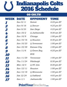 Indianapolis Colts Schedule - 2016