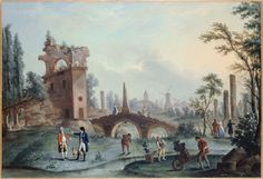 Carmontelle (attr. à) Carmontelle remet les clefs du jardin de Monceau au duc de Chartres huile sur toile, vers 1775