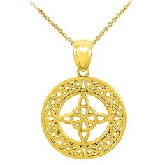 cool 10k Yellow Gold Round Celtic Trinity Knot Pendant Necklace