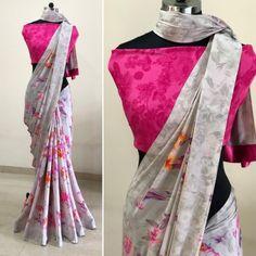 Grey crape silk digital printed saree Lace Saree, Satin Saree, Indowestern Lehenga, Jacket Lehenga, Bollywood Lehenga, Simple Sarees, Digital Print, Saree Blouse Designs, Blouse Patterns