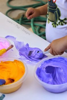 2 ingredient shaving cream paint. Awesome!