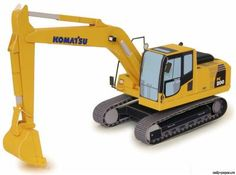 This paper model is from canon papercraft. A hydraulic excavator is a construction machine that can be used with attachments for a wide range of purposes. Paper Craft Work, 3d Paper Crafts, Paper Toys, Paper Crafting, Diy Paper, Free Paper, 3d Templates, Canon Inc, Train Truck