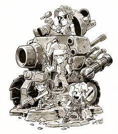 Inktober Day 31 - Metal Slug by Derek Laufman Character Drawing, Character Design, Dragon Ball, Epic Drawings, Fanart, Anime Chibi, Cool Artwork, All Art, Inktober