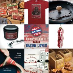 """#BeerBaconMusic Gift Guide. Product links here https://www.facebook.com/beerbaconmusic Ultimate Bacon Sampler; """"Come to the Dark Side, We Have Bacon"""" T-shirt; Bacon Press; Bacon Shaving Cream; Bacon Ornament; Fifty Shades of Bacon; Bacon Kit; Sir Francis Bacon Peanut Brittle"""