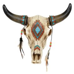 Southwestern Skull Wall Hanging - A Black Forest Decor exclusive - Add rustic character to your lodge with a polyresin replica of a western steer skull with beadwork and feather accents. Deer Skull Art, Cow Skull Decor, Bull Skull Tattoos, Bull Skulls, Art Tattoos, Toros Tattoo, Painted Animal Skulls, Buffalo Skull, Black Forest Decor