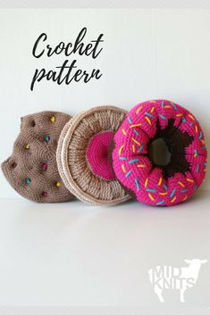 This trio of Sweet Treat Cushions will add a touch of whimsy to any room. Whether you crave donuts, rainbow chocolate chip cookies, or a fruit cremes, this pattern has them all. Crocheted using a split single crochet stitch (ssc), the smooth v's of the textile are reminiscent of a smooth knit stockinette stitch. These written instructions for three styles of cushions include a color work chart for the donut, and photos for pattern clarification making it an easy to follow how-to. #ad…