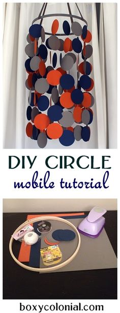 Step-by-step photo tutorial to make this circle mobile for baby's nursery