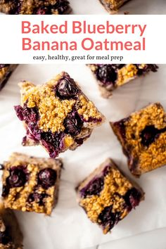 This healthy baked blueberry banana oatmeal is perfect for meal prep or to feed a crowd. Made without refined sugar and a great breakfast for kids. #breakfast #snack #freezerfriendly #kidfriendly #makeahead