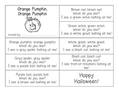 First Grade a la Carte: Orange Pumpkin, Orange Pumpkin What Do You See?
