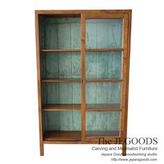 Java Cabinet Display with Shabby Vintage Paint at the Back - Teak Indonesia Jepara Goods Woodworking Studio