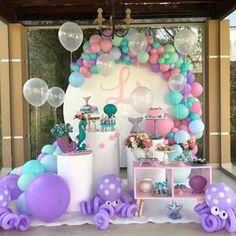Mermaid Party Decorations, Balloon Decorations, Birthday Party Decorations, Birthday Parties, Mermaid Baby Showers, Baby Mermaid, Mermaid Birthday, Balloon Garland, Balloons