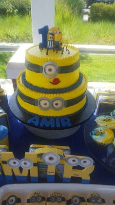 Cool cake at a Minions birthday party! See more party ideas at CatchMyParty.com!