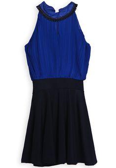 Vestido gasa plisado sin mangas-Azul y negro EUR18.62 www.sheinside.com