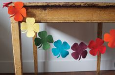 Rainbow felt shamrock garland from Make and Takes!