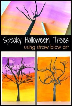 Need a fun spooky Halloween Art project? Here's a super fun art project for kids to make this Halloween- straw blown spooky trees! An easy way to make a fall masterpiece this fall! Premier Halloween, Halloween Art Projects, Theme Halloween, Fall Art Projects, School Art Projects, Halloween Crafts For Kids, Fall Crafts, Projects For Kids, Kids Crafts