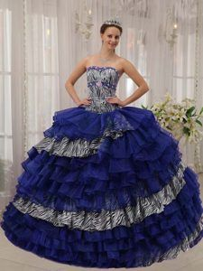 Sweetheart Beading Quinceanera Dress Made in Zebra and Organza in Blue