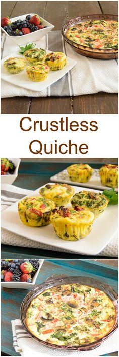 Crustless Quiche recipe - easy, make ahead breakfast packed with veggies and protein! Perfect for brunch or for make for the weeks breakfast to take on the go! Gluten free, low fat