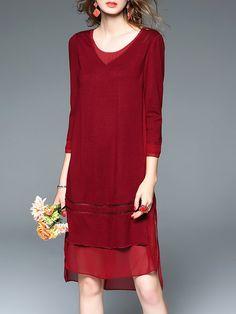 Shop Midi Dresses - Red 3/4 Sleeve Asymmetrical Asymmetric Midi Dress online. Discover unique designers fashion at StyleWe.com.