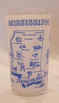 Vintage FEDERAL Glass FROSTED MISSISSIPPI Drinking Glass State Map Souvenir