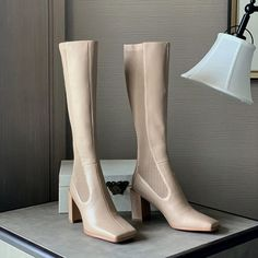 Block Heel Boots, High Heel Boots, Block Heels, Shoe Boots, Sock Boots Outfit, Shoe Story, Spring Boots, Heels Outfits, Socks And Heels